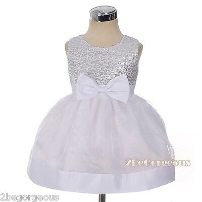 Sequins Bow Girl Flower Girl Party Holiday Occasion Dresses Baby Age 9m-4y FG355