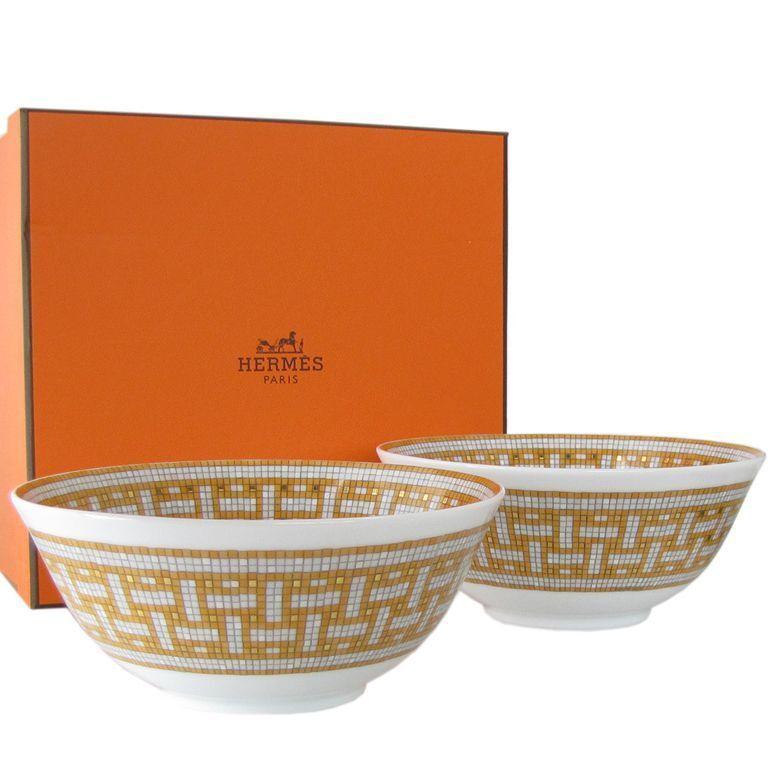 Hermes Hermes Hermes Porcelain Rice Bowl Plate set Mosaique Van Cattle Tableware Auth New Rare 1ccee7