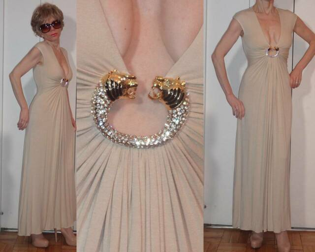 NWT SKY SLEEK GRECIAN LONG BEIGE NUDE DRESS RHINESTONE TIGER BROOCH CLEAVAGE XS