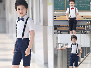 8a38ff557 NEW 4Pcs Toddler Boy Kids Formal Short Suit Wedding Party Outfits ...