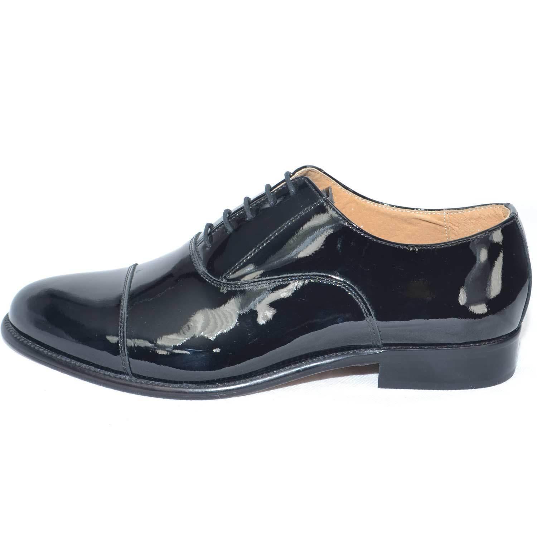 Scarpe eleganti in mezza punta nero vernice vera pelle made in eleganti italy materiale luci 2c748c