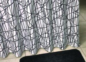 Duschvorhang überlänge duschvorhang textil überlänge linien kreuz und quer schwarz weiß