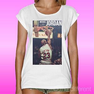 magasin en ligne 4b0db ed548 Détails sur T-Shirt Femme Michael Jordan Smash Basketball 23