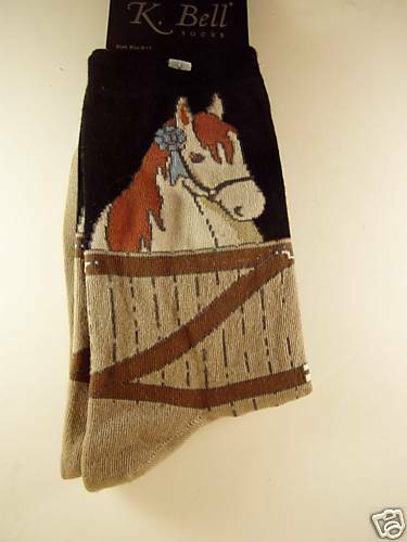 K.Bell Black Beige Blue Ribbon Horse Equestrian Cotton Ladies Crew Socks New