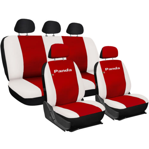 CAR SEAT COVERS FIAT PANDA NEW WHOLE LINERS ECO LEATHER RED BIANCO