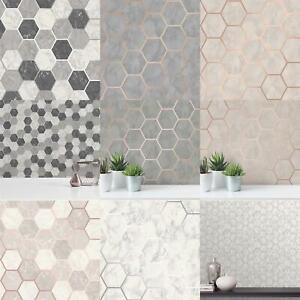 Crown Hexagon Geometric Marble Wallpaper Kitchen Silver Rose Gold