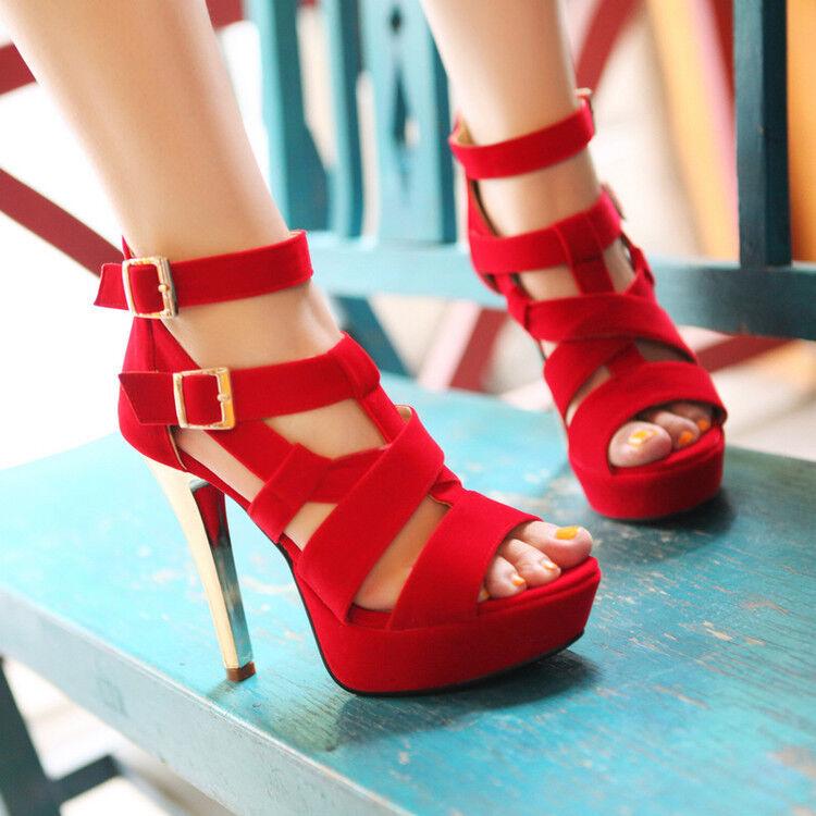 Womens High Heel Stiletto Sandals Ankle Strap Platform Peep Toe Nightclub shoes