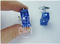 3D Tardis Metal Cuff Links Blue Copper Police-Box Cufflinks Doctor Who