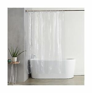 AmazonBasics Heavyweight Clear Shower Curtain Liner With Hooks 20 Gauge And