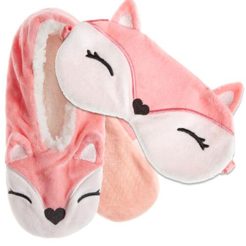 Cosy Sherpa Doublure Pantoufles Licorne Fox soyeux Femme Voyage Masque Yeux