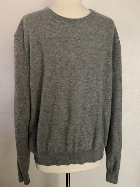 RALPH LAUREN PURPLE LABEL Mens Gray Cashmere Crew-Neck Long Sleeve Sweater XL