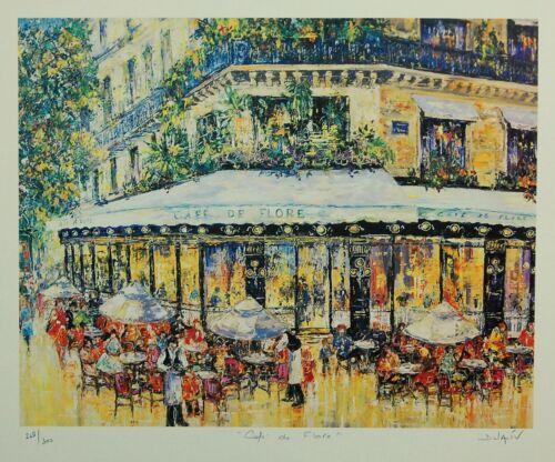 "Framed Fine Art Lithograph Contemporary City /""Café De Flore/"" by Duaiv"