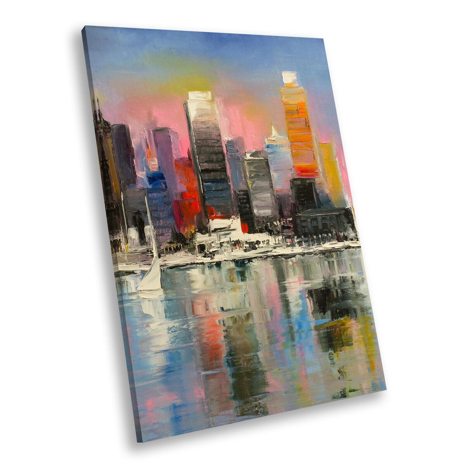 Colourful Retro City Skyline Portrait Scenic Canvas Framed Art Picture