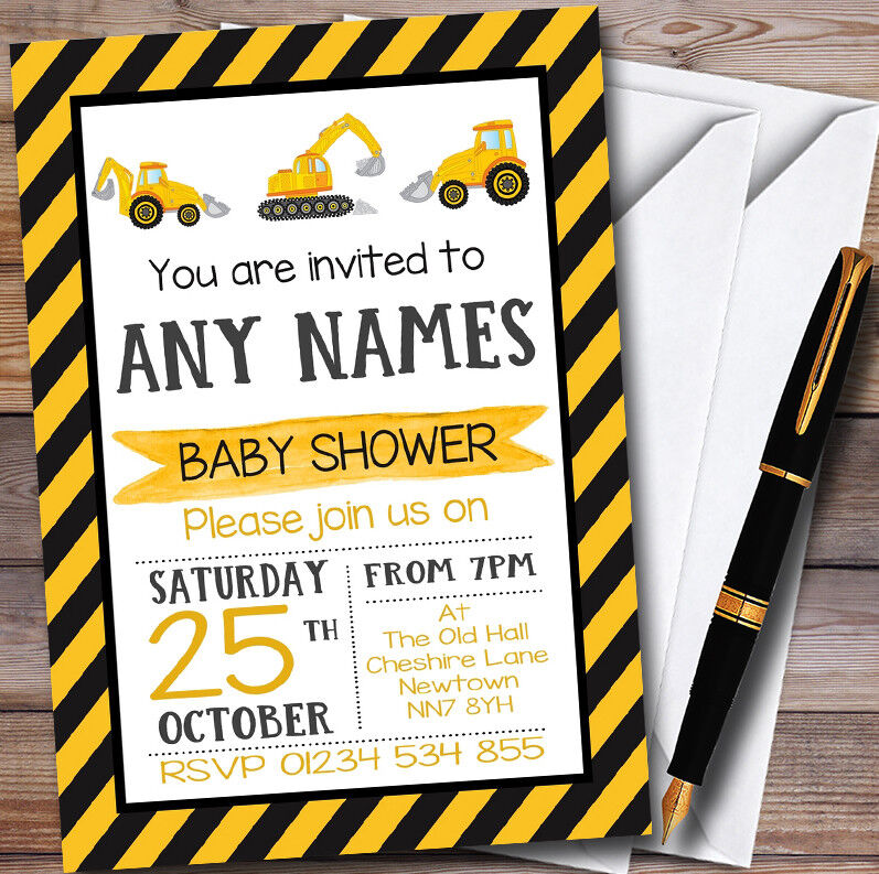 Digger Construction Dump Everything Personalised Baby Shower Invitations