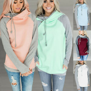 Women-Long-Sleeve-Hoodie-Sweatshirt-Cowl-Neck-Sweater-Hooded-Jumper-Pullover-Top