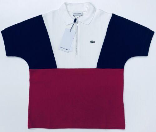 Women's Colorblock Lacoste Neck Terrycloth Piqué Zip Polo Shirt TF886Wz