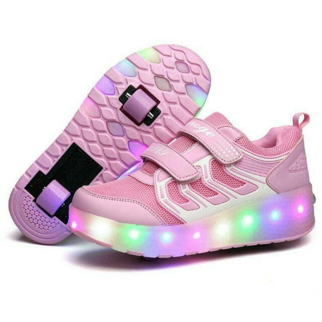 Dual Wheel ab Roller Skate Sneakers Rechargebale LED Light Up Roller Wheel Shoes