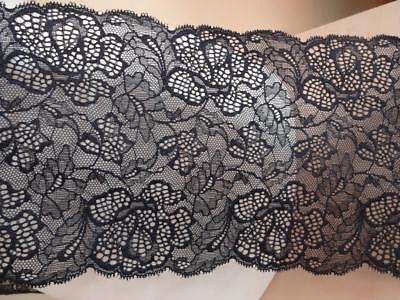 Französische elastische Spitze,Spitzenborte,Lace stretch schwarz 17cm breit