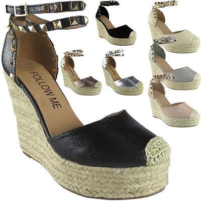 Alpargatas para mujer señoras Tachonado Correa De Tobillo Plataforma Zapatos Sandalias de Cuña 4 5 6