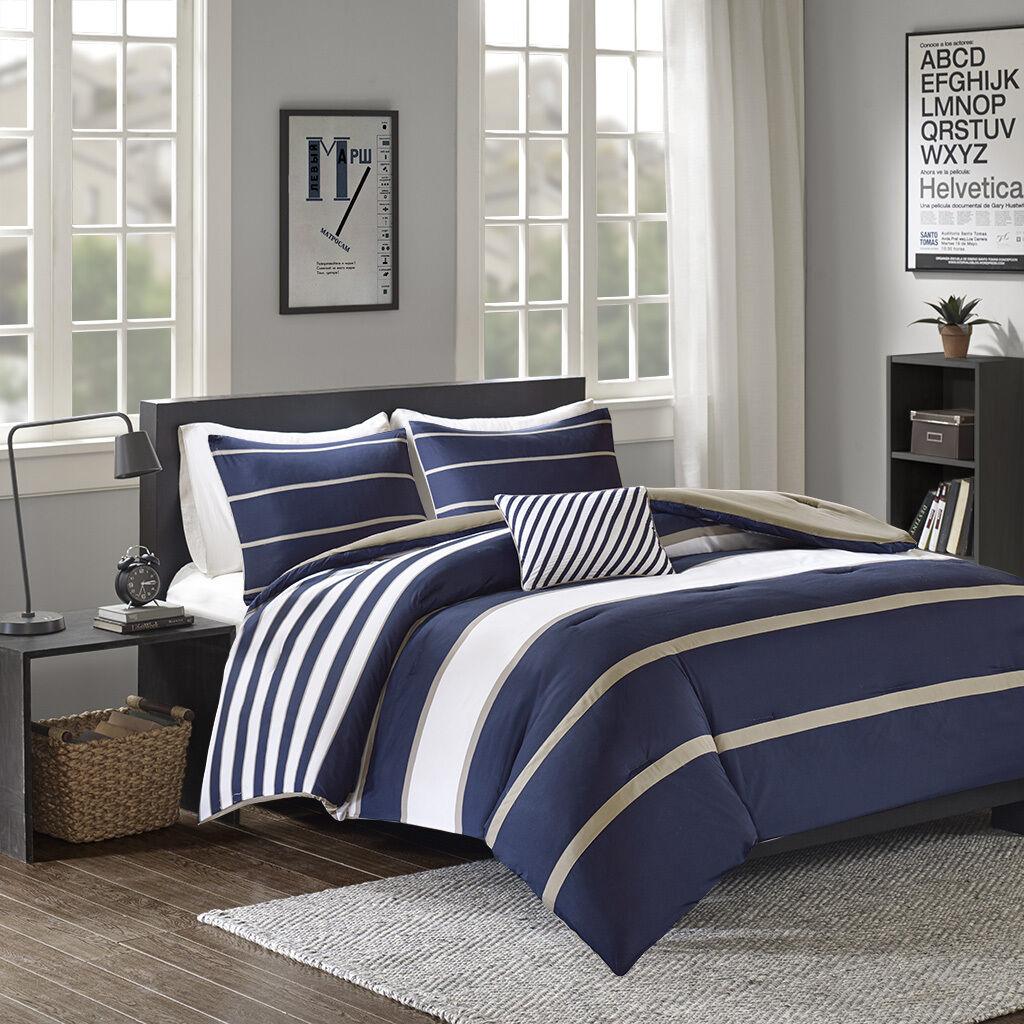 New Teens Dorm Blau Stripes Comforter 4 pcs Queen Twin TXL Bedding Set