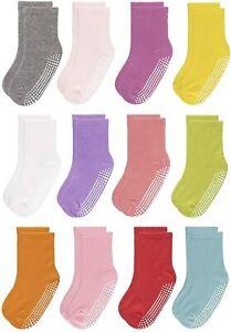 Non-Slip Socks 6/12 Pairs Grips Anti-skid for Toddler Girls Boys Little Big Kids