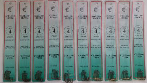 Size 4 Snelled Bait Hooks 24 pks 144 Total Hooks Dolphin Brand 6//pack