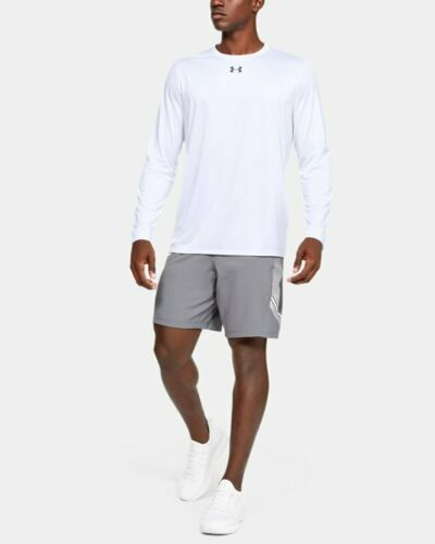 Under Armour UA Locker 2.0 Long Sleeve White Mens Pullover Heatgear T-Shirt NWT