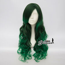 65CM Lolita Mixed Green Ombre Long Women Curly Party Synthetic Hair Cosplay Wig
