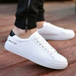 Men Casual Leather Lace Up Sneakers Sports Comfy Flats White