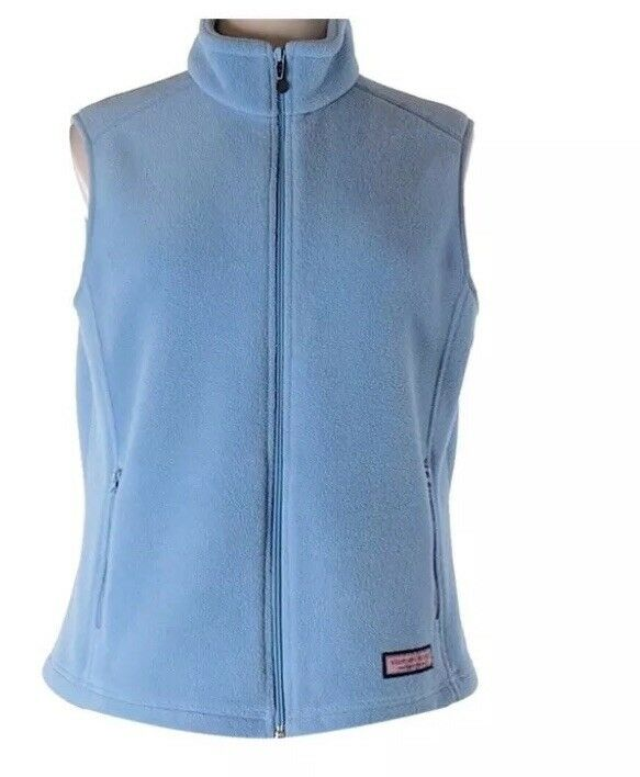 Vineyard Vines fleece Westerly Fleece vest women's Size Small light bluee Whale