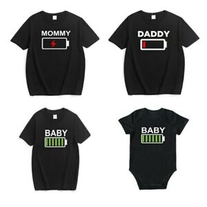 Family Look Matching Clothes Father Mother Son Daughter Kids T-shirt Casual Mom