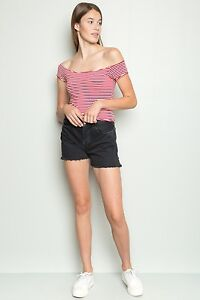b4788a5d0a22b4 New! brandy melville red white Striped Cropped off shoulder cotton Lee top  NWT