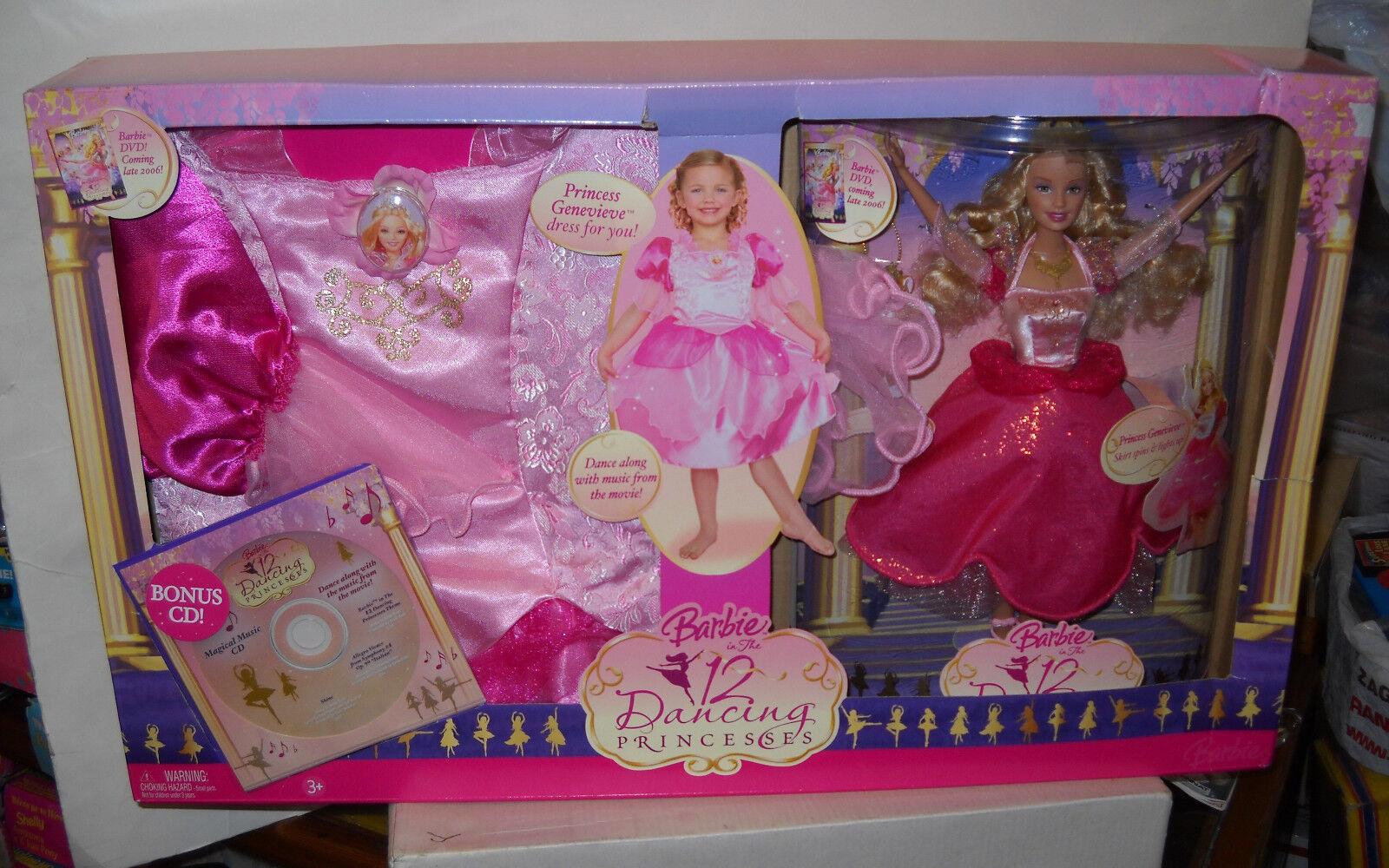 Nunca quitado de la Caja Mattel 12 tanzenden Prinzessinen Barbie Como Princesa Genevieve Giftset