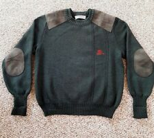 Burberry's Mens Pure New England Wool Thick Green Leather Patched Sweater Sz M