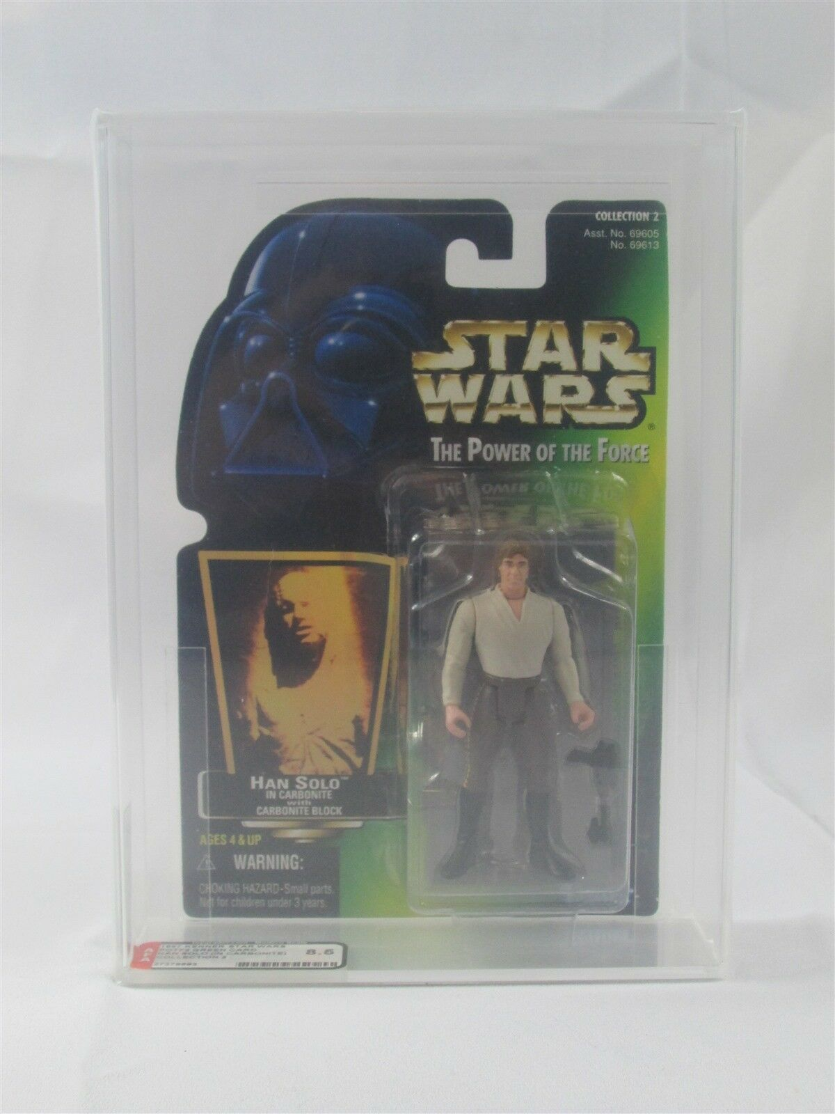 STAR WARS POTF2 HAN SOLO IN CARBONITE AFA GRADED 85 NM  1997 KENNER MOC