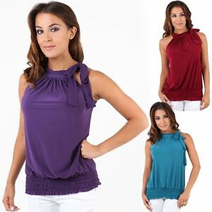 Womens-Ladies-Sleeveless-Blouse-Halter-Neck-Vest-Top-Party-T-Shirt-Plus-Size