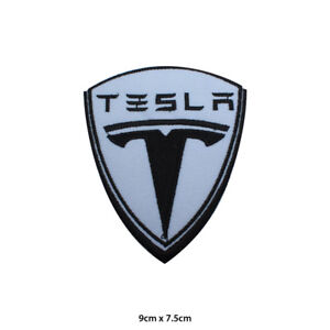 Tesla Super Car Racing Logo Embroidered Patch Iron on Sew On Badge