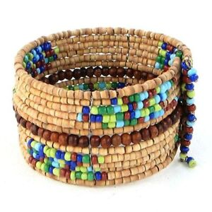 Bracelet-Wide-Cuff-Wood-amp-Seed-Beads-Hand-Beaded-Memory-Wire-Fashion-Jewelry