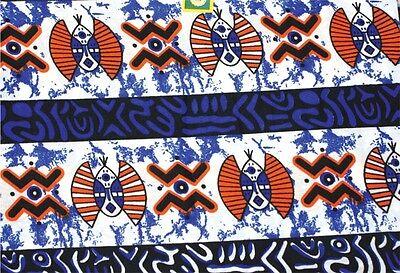 African Blue Masks Print Fabric new BY 1/2 YD fancy wax ethnic tribal p307