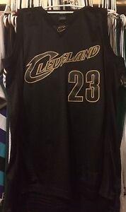size 40 f1a90 4d0e9 Details about LeBron James Black Gold Cleveland Cavaliers Cavs NBA Jersey  Sewn Men L Rare #23