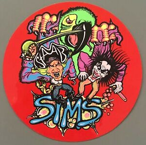 Vtg Sims Kevin Staab Sticker Decal Skate Shop Skateboard NOS 80's NEON