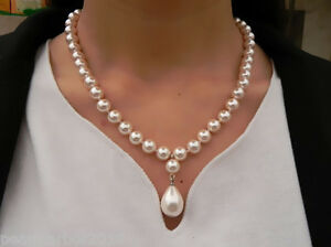 Sea Shell Pearl Princess Necklace & Sterling Silver Clasp Add Extension Chain