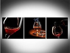 Black Home Bar Dining Decor Red Wine Shot Glass Cigar Wall Art Canvas Print