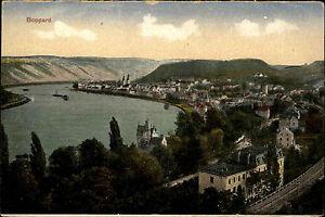 Boppard-am-Rhein-Color-AK-1920-30-Gesamtansicht-mit-Rhein-Schiffe-ungelaufen
