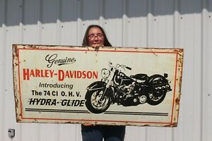 """Large Vintage Harley Davidson Motorcycle 74 Ci O.H.V. Hydra-Glide 48"""" Metal Sign"""