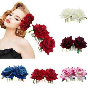Bridal Boho Rose Flower Hairs Comb Clip Hairpin Wedding Party Hairs Accessories
