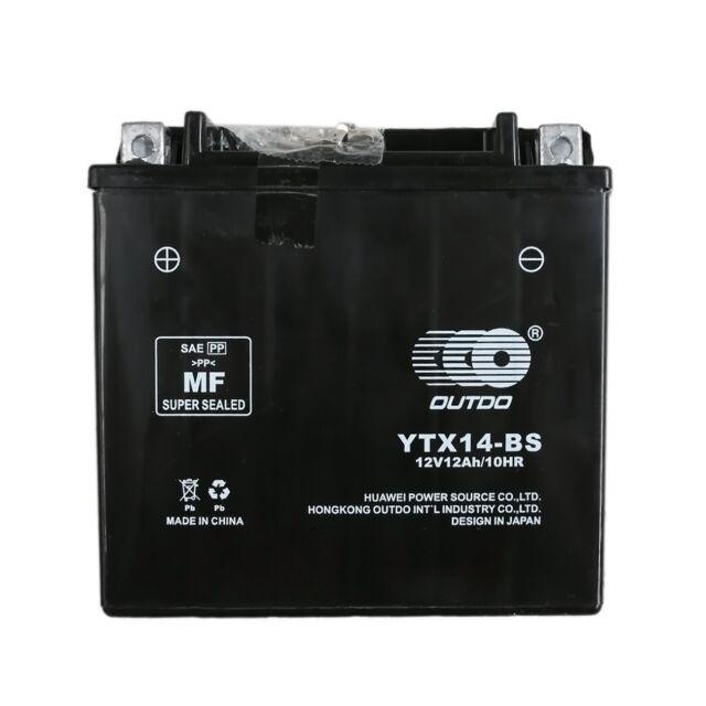 YTX14-BS 12V 12AH AGM BATTERY HONDA ATV QUAD BIKE TRX 300/350/400/420/450/650 ne
