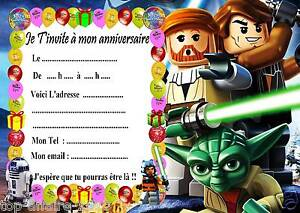 5 cartes invitation anniversaire lego star wars 01 ebay. Black Bedroom Furniture Sets. Home Design Ideas