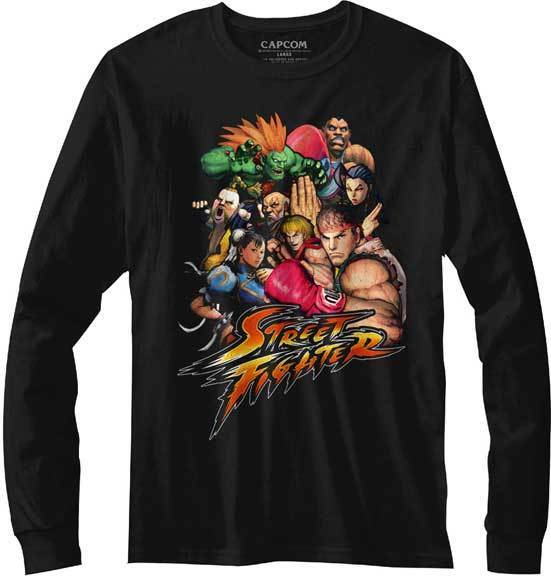 Street Fighter Capcom Video Game Group Collage Adult Long Sleeve T Shirt