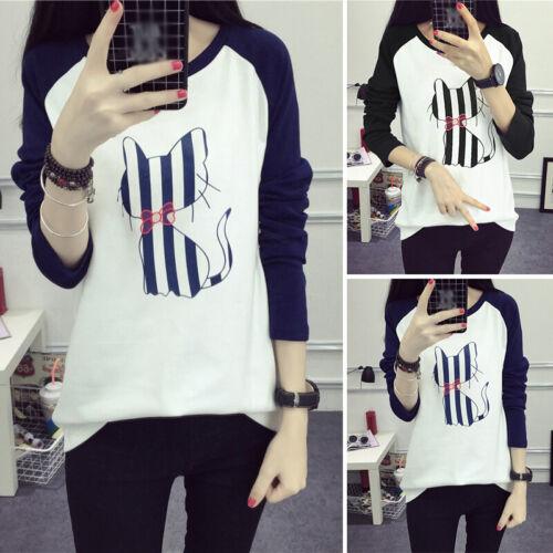 Damen Süße Katze Print T Rundhals-Shirt Hoodies Sweatshirt Pullover Langarm Tops
